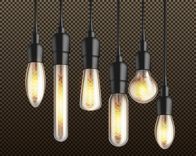 Glowing in darkness different shapes and forms incandescent light bulbs with heated wire filament hanging from above on black wire and holders 3d realistic vector isolated