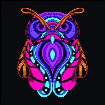 Glowing decorative owl Premium Vector
