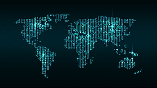 Glowing digital world map