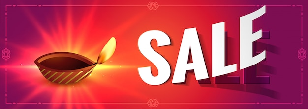 Glowing diwali sale colorful banner with diya
