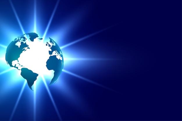 青い技術背景デザインに輝く地球
