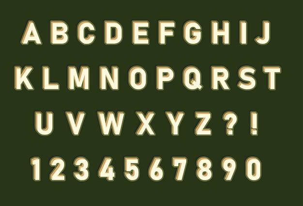 빛나는 가장자리 알파벳 숫자 세트