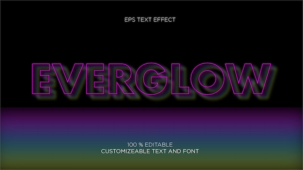 Glowing editbale eps text effect