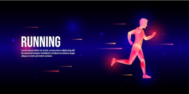 Glowing fast running man in fantasy light art style.