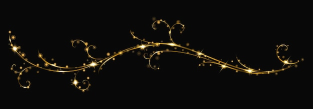 Glowing fire branch of swirls or curls with sparkles on black background