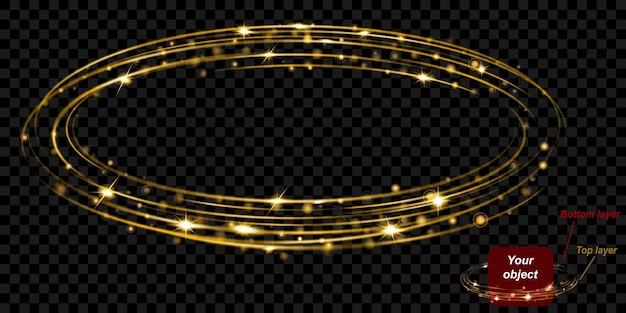 Светящееся огненное кольцо с блестками состоит из двух слоев: верхнего и нижнего. в золотых тонах на прозрачном фоне. легко использовать с вашим объектом. прозрачность только в векторном формате