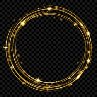 Glowing fire ring with glitter in gold colors on transparent background. light effects. transparency only in vector format