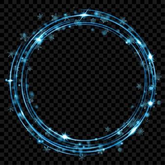 Светящиеся огненные кольца с блеском и снежинками в голубых тонах на прозрачном фоне. световые эффекты. прозрачность только в векторном формате