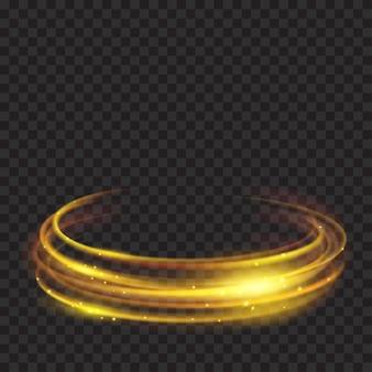 透明な背景に金色のきらめきを持つ輝く火の輪