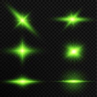 輝くフレアコレクション。サンフラッシュ、魔法の爆発セット。有毒な緑色