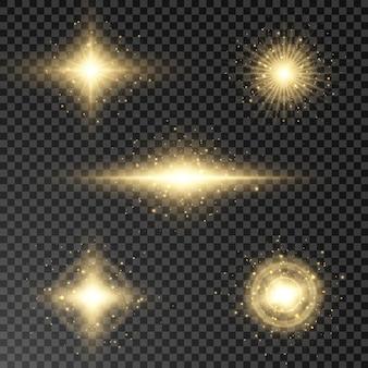 빛나는 플레어, 렌즈 컬렉션. 태양 플래시, 마법 폭발 세트