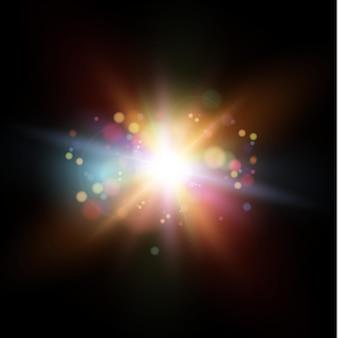빛나는 플레어, 렌즈. 태양 플래시, 마법 폭발, 보케 요소.