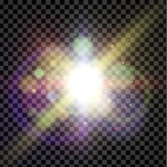 Светящаяся вспышка, линза. вспышка солнца, волшебный взрыв, боке на темном фоне.