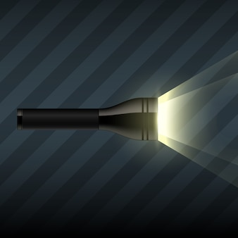 Glowing flashlight on dark striped background