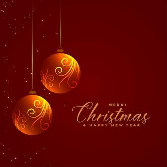 Светящиеся цветочные рождественские шары на красном фоне
