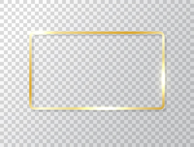 Glowing frame isolated on transparent background. gold luxury rectangle border. golden banner with lights effects.