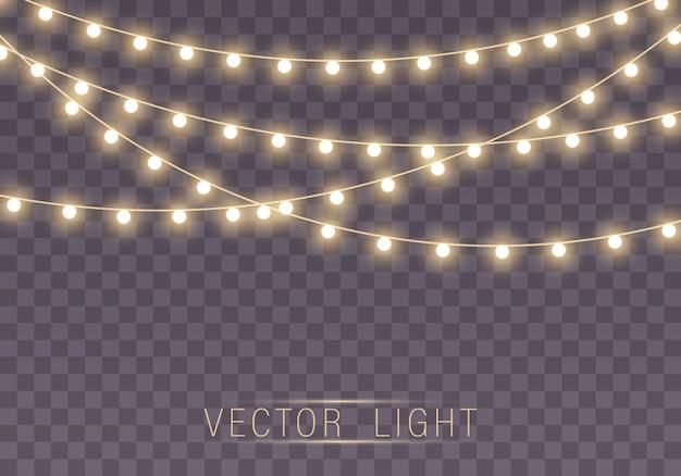 Glowing garland string lightbulbs.