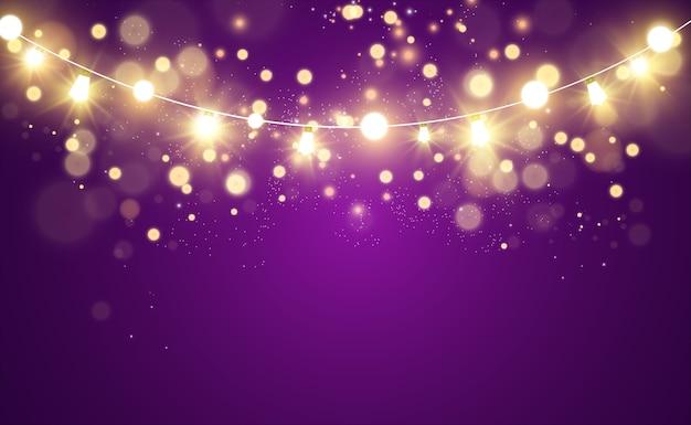 輝くガーランドストリングライト。