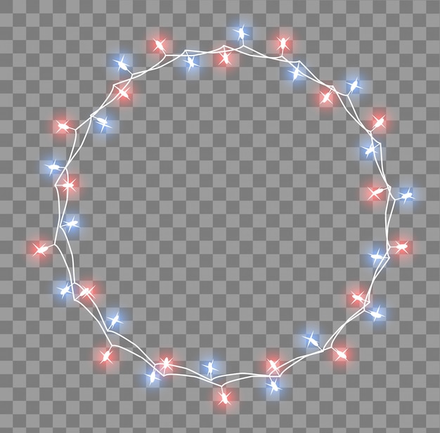 Glowing garland with small lamps. garlands christmas decorations lights effects. glowing lights garlands xmas holiday greeting card .  illustration, clipart.