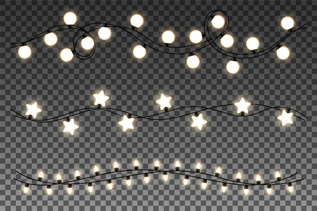 Glowing garlands set isolated on transparent background.
