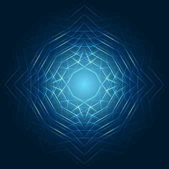 Glowing geometric shapes on blue background