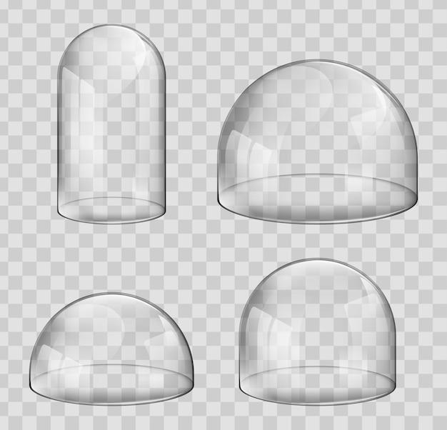 빛나는 유리 돔 케이스, 반구형 및 캡슐 모양.