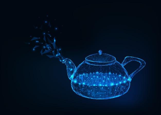 끓는 물과 진한 파란색 배경에 고립 된 증기와 빛나는 유리 주전자.