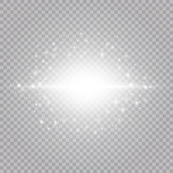 輝くキラキラ光の効果が現実的に分離されました。輝く要素と星。