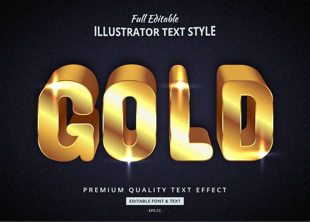 Glowing gold 3d text graphic style