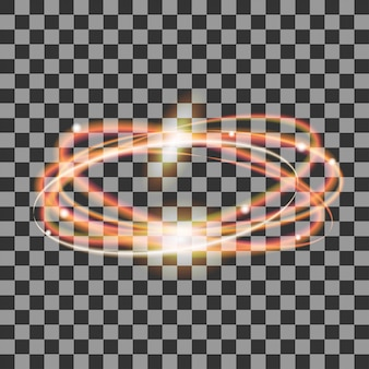Светящиеся золотые круги, следы огненного эллипса с искрами, световой эффект волшебного блеска на прозрачном фоне, легкая водоворотная тропа, светящиеся волны,