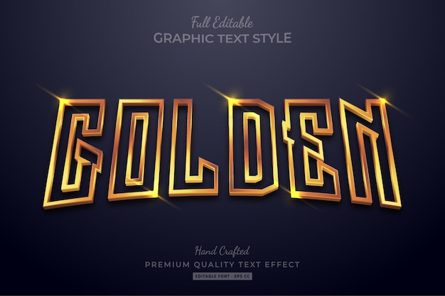Glowing golden editable text effect font style