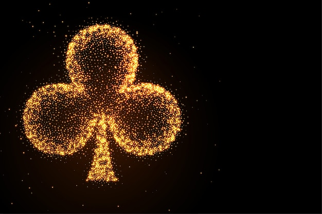 Glowing golden glitter clubs symbol black background