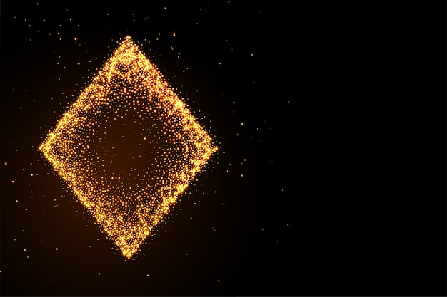 Glowing golden glitter diamond symbol black background