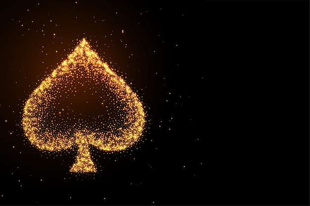 Glowing golden glitter spades symbol black background