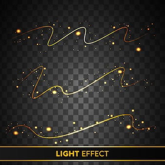 Glowing golden light effect with sparkling particle  isolated on transparent background