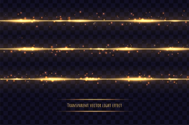 Glowing golden lines with light effects isolated on dark transparent