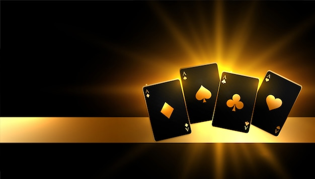 Glowing golden paying cards casino background