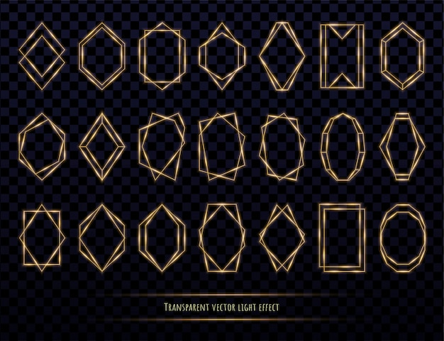 Glowing golden polygonal frames collection isolated on transparent