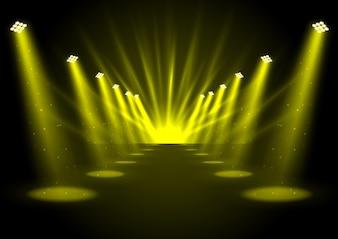 Glowing golden spotlights