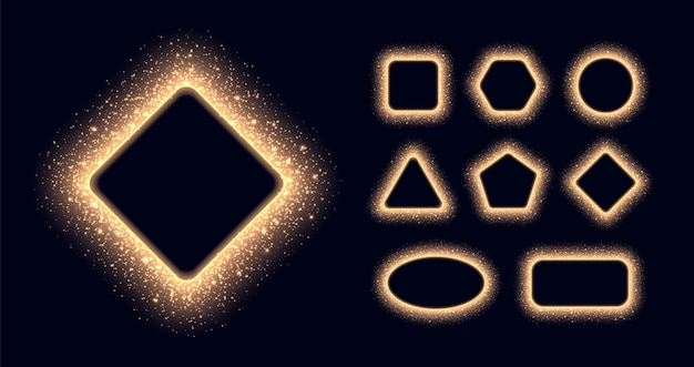 Glowing golden stardust frames collection, shiny borders with sparkles and flares. abstract luminous particles in different shapes isolated on a black background.