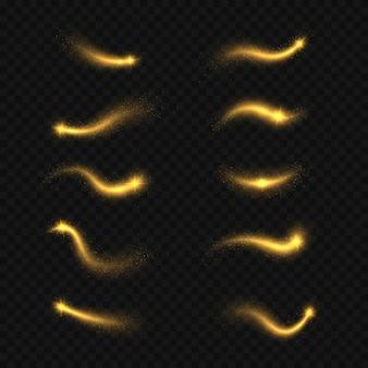 Glowing  golden streaks of dust on transparent