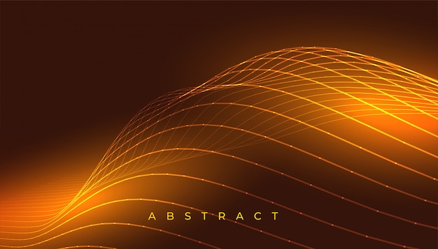 Glowing golden wavy lines abstract background design