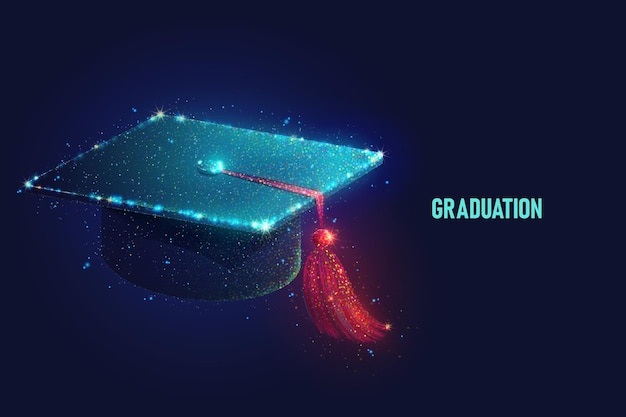 Glowing graduation cap vector illustration made of neon particles. bright magic student hat art in modern abstract style consists of colorful dots.