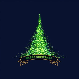Glowing green christmas tree design background