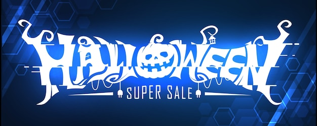 Glowing halloween super sale text banner design concept