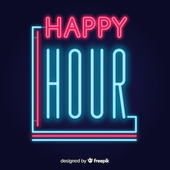 Glowing happy hour neon sign