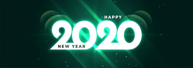 Glowing happy new year 2020 shiny banner
