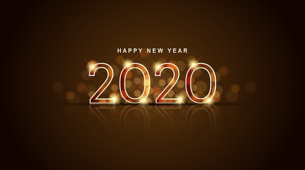 Glowing happy new year 2020 with abstract bokeh and lens flare gold background