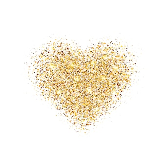 Glowing heart with sparkles and star dust.