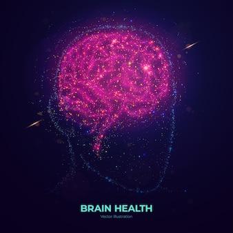 네온 입자로 만들어진 빛나는 인간 두뇌.